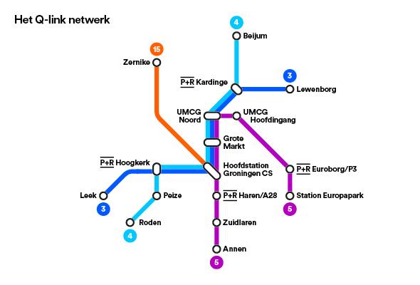 Het lijnennetwerk van Qlink.