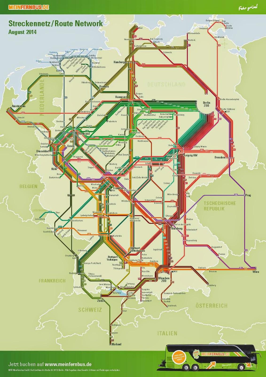 Het lijnennet van MeinFernbus