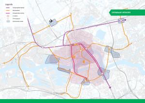 De rode lijn geeft de nieuwe tramlijnen aan door de Maastunnel en over de Willemsbrug.